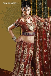 Embroidered-Rustic-Red-Lehenga-Choli- from Cbazaar.com